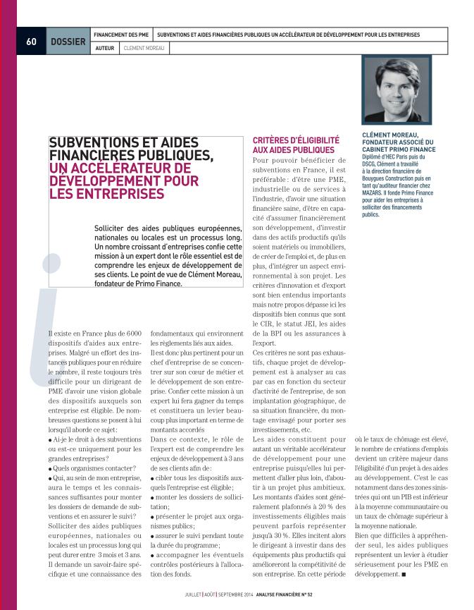 Financement des PME - revue SFAF Aout 2014