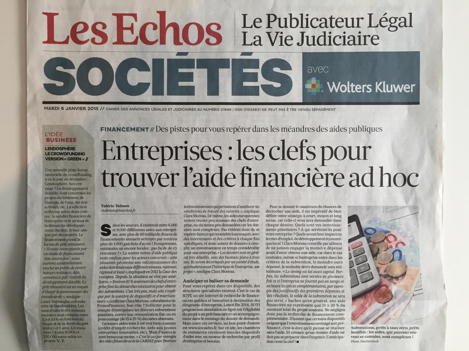 Les Echos - Mardi 6 janvier 2015